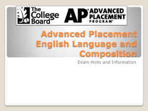Advanced Placement English Language and Composition PowerPoint