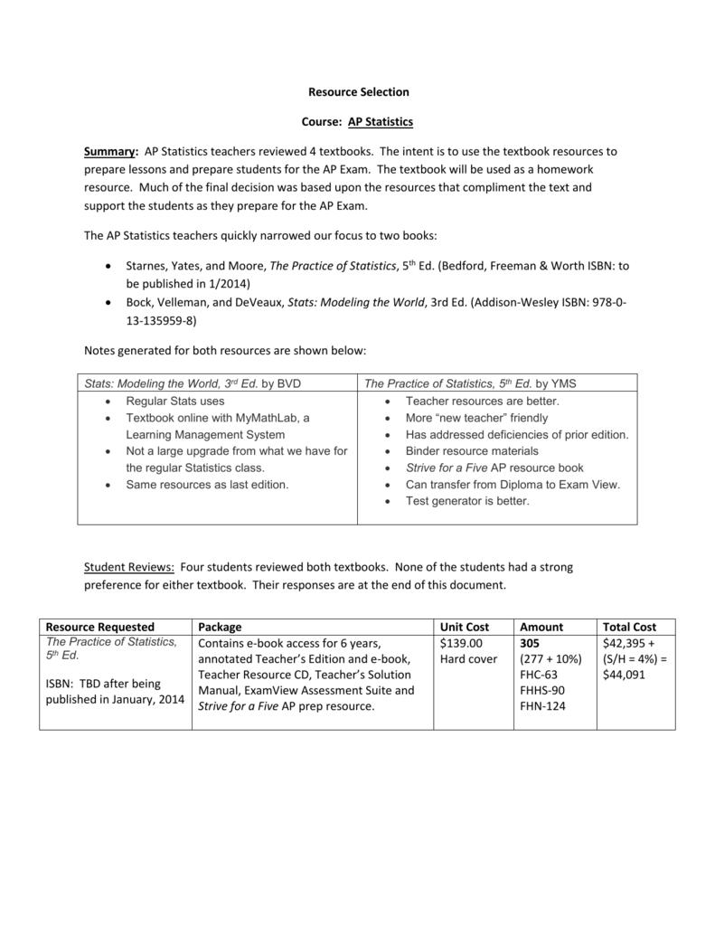 Resource Selection Course: AP Statistics Summary: AP Statistics