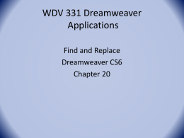 WDV 331 DW Applications-Find and Replace