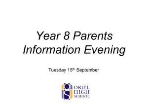 Presentation – Year 8 Curriculum Info Evening