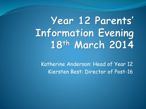 Year 12 Parents* Information 16 March 2011