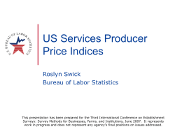 Services Producer Price Indices - American Statistical Association