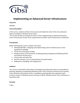 Implementing an Advanced Server Infrastructure