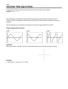 Lesson 6 – Solving Trig Equations Note