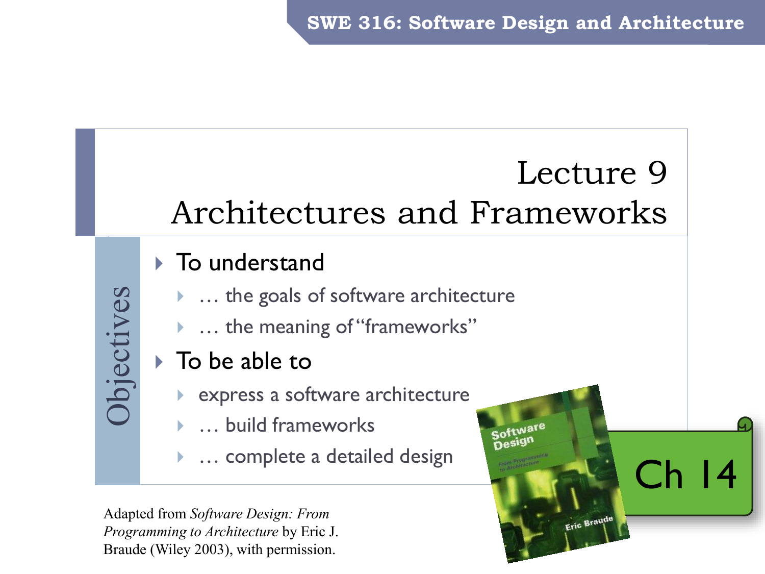 Swe 316 Software Design And Architecture