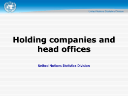 Holding companies and head offices