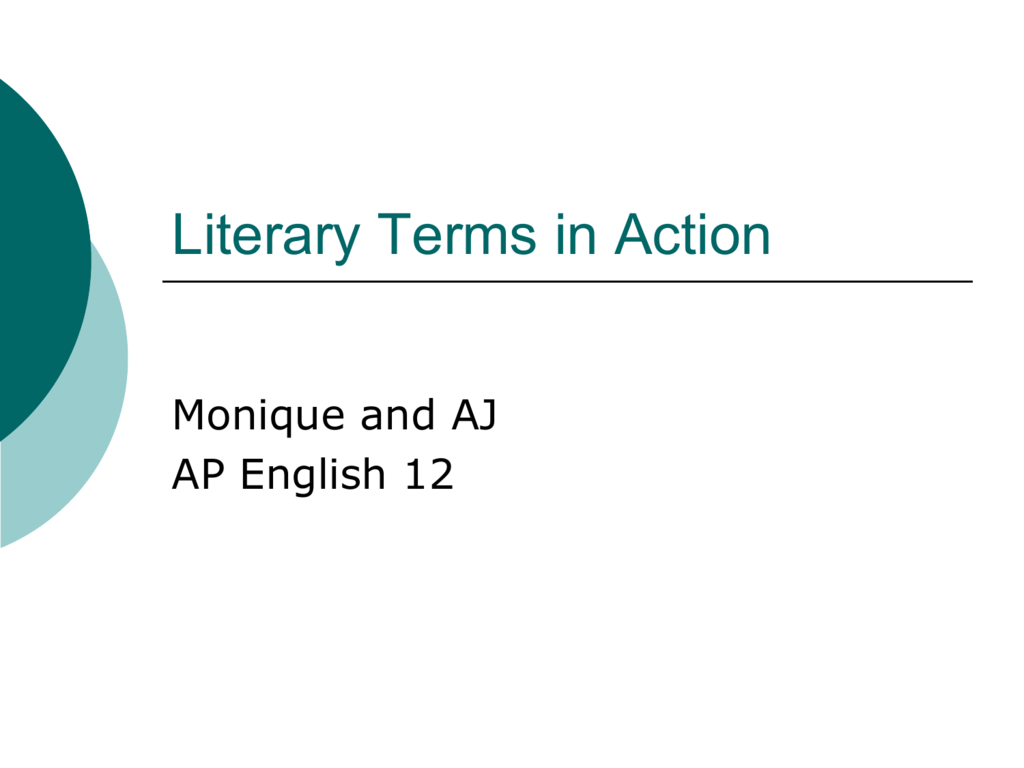Literary Terms In Action