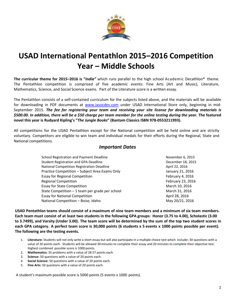 academic pentathlon nationals