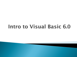 Visual Basic - Intro to Visual Basic 6.0