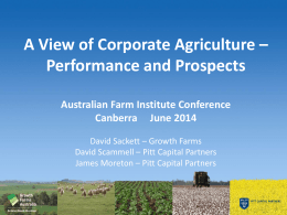A View of Corporate Agriculture