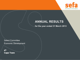 ANNUAL RESULTS for the year ended 31 March 2013