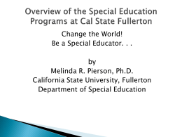 Overview of the Special Education
