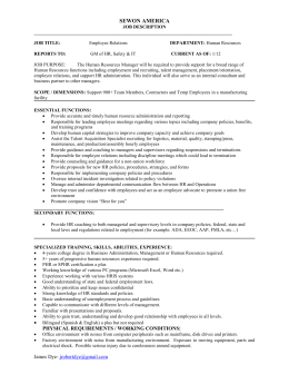 job title - West Georgia SHRM