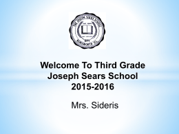 2015-16 Presentation - Joseph Sears School