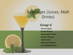 Beverages (Juices, Malt Drinks) - Lectures For UG-5