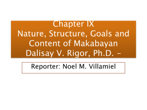 Chapter IX Nature, Structure, Goals and Content of Makabayan