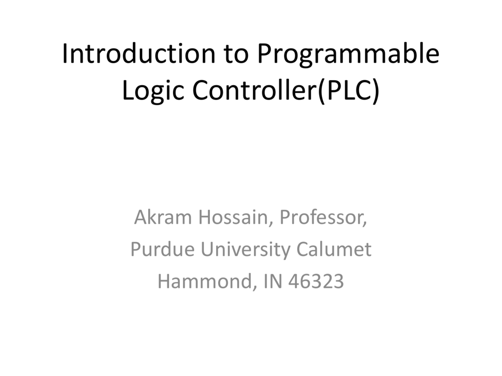 Introduction To Programmable Logic Controllerplc Ladder Diagram For Elevator
