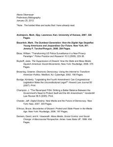 Alexis Obernauer Preliminary Bibliography January 25, 2012 *Note