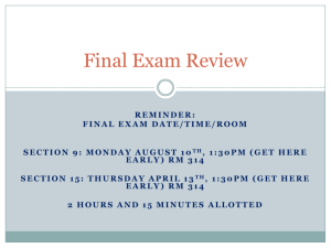 Final Exam Review - Columbia College