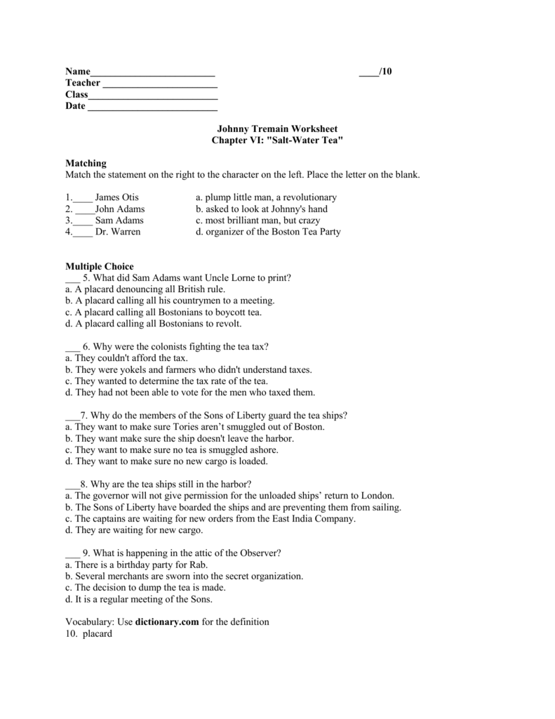 Johnny Tremain chapter 6 worksheet