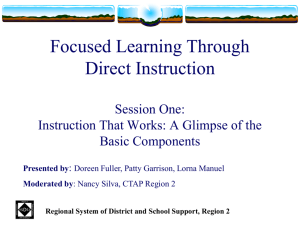 Explicit Direct Instruction - Tehama County Department of Education