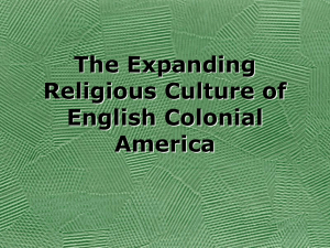 The Expanding Religious Culture of English Colonial
