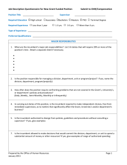 Job Description Questionnaire for New Grant Funded Positions