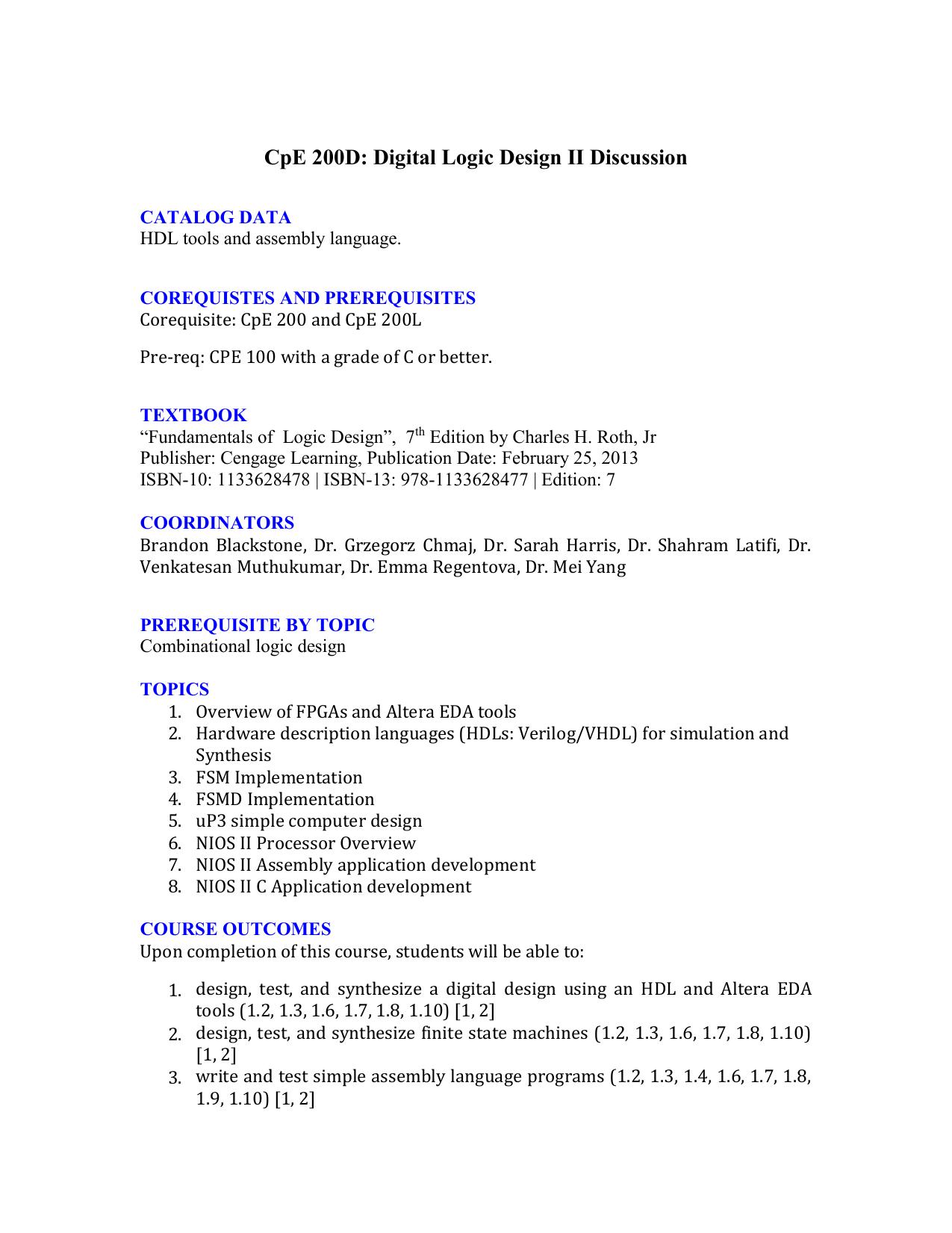 Cpe 200d Digital Logic Design Ii Discussion