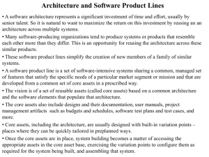 Architecture and Software Product Lines