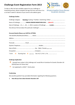 Challenge Event Registration Form 2013