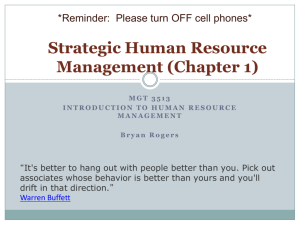 Strategic Human Resource Management (Chapter 1)