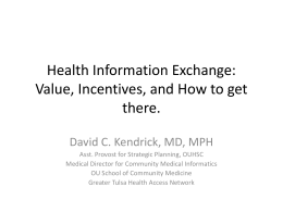 Health Information Exchange - The Oklahoma Health Care Authority