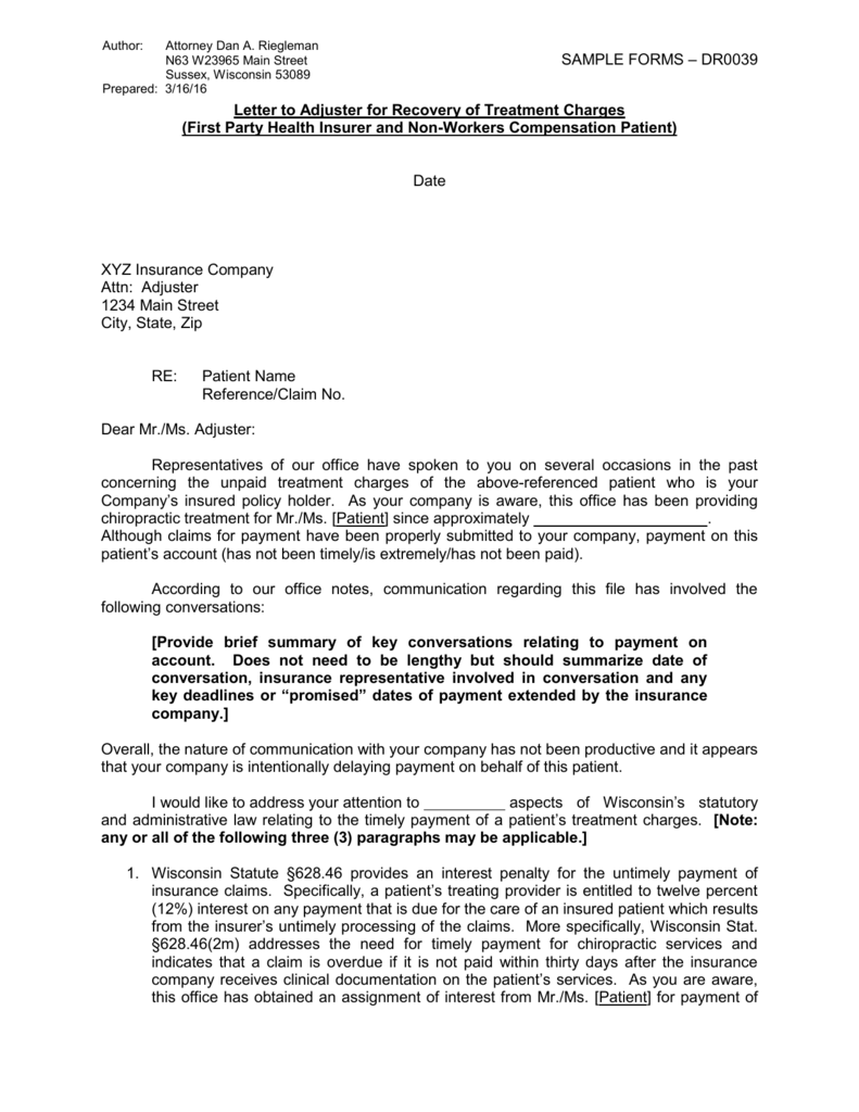 Letter to Adjuster for Recovery of Treatment