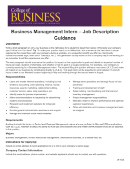 Business Management Intern U2013 Job Description Guidance