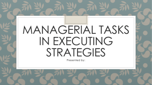 Managerial Tasks in Executing Strategies