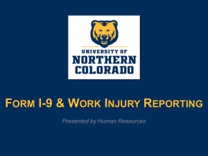 Form I-9, Employment Procedures, & Work Injury Reporting