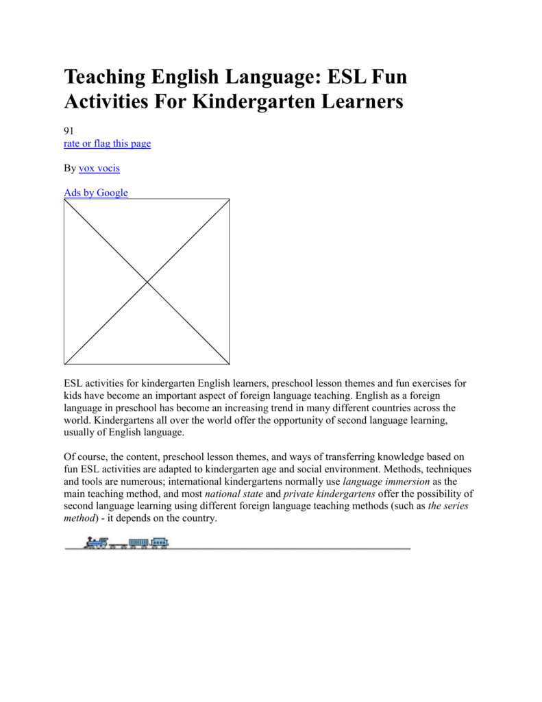 Teaching English Language Esl Fun Activities For Kindergarten
