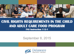 2016 CACFP Civil Rights PPT - Delaware Department of Education