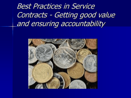 Best Practices in Service Contracts