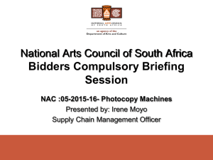 Briefing session presentation - National Arts Council of South Africa