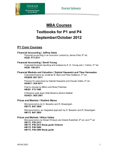MBA Courses Textbooks for P1 and P4 September/October