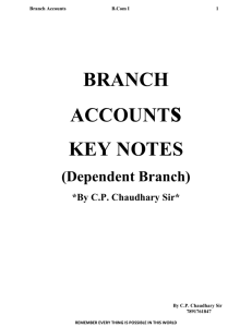 BRANCH ACCOUNTs KEY NOTES