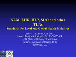 NLM, Standards and Global Health Initiatives
