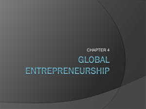CH 4 PPT: Global Entrepreneurship