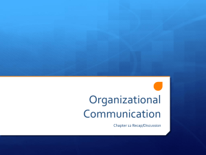Chapter 12 - Organizational Communication and Culture