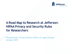 HIPAA for Jefferson Researchers