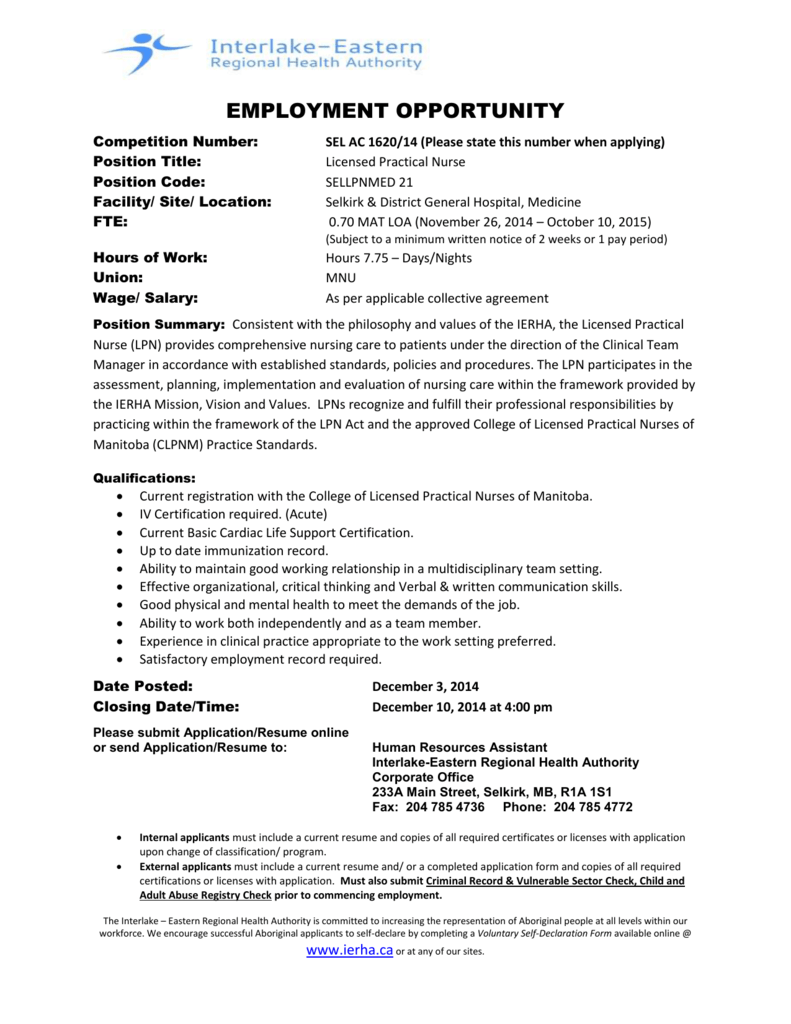 EMPLOYMENT OPPORTUNITY Competition Number: SEL AC 1620