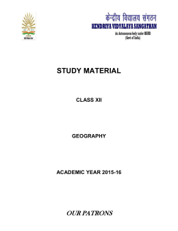 Geography Study Material Class XII 2015-16