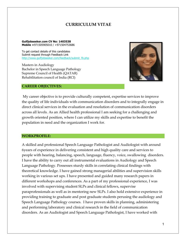 curriculum vitae audiologist