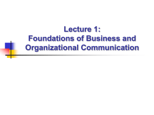 Lecture 1: Foundations of Business and Organizational